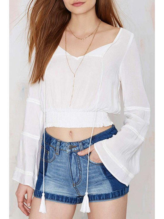 outfits Elastic Solid Color Long Sleeve Crop Top - WHITE S