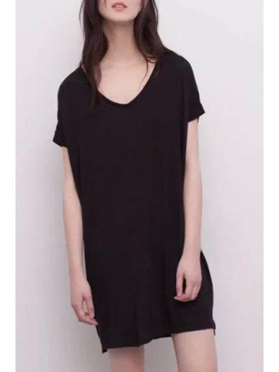 women Solid Color Short Sleeve V Neck Dress - BLACK S