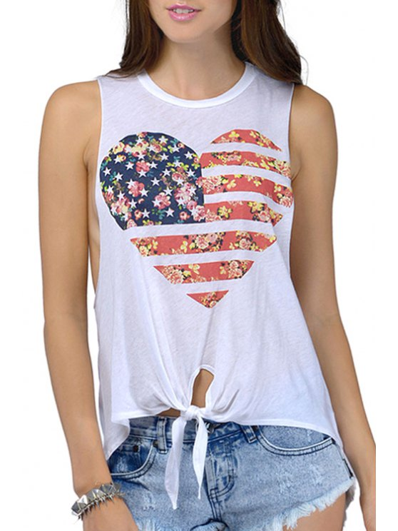 womens American Flag Pattern Tie Knot Tank Top - WHITE S