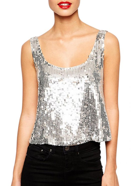best Scoop Neck Full Sequins Backless Tank Top - SILVER S