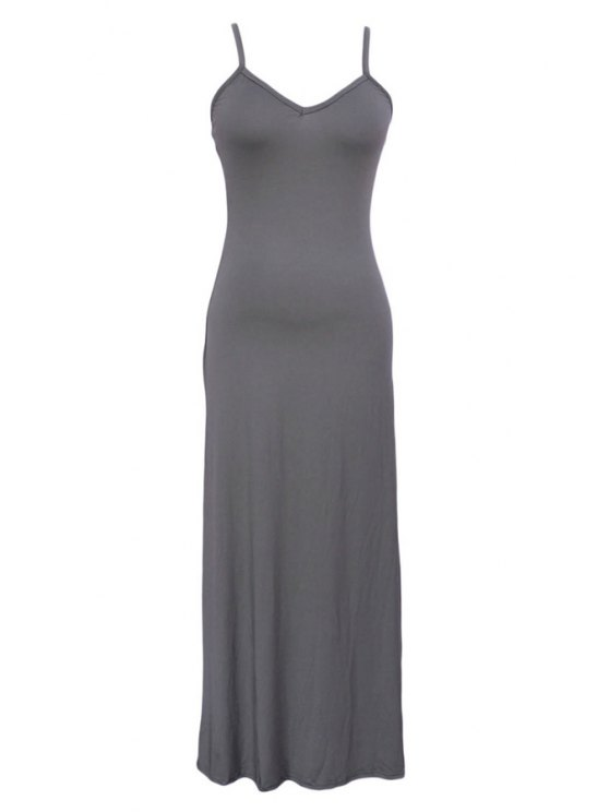 shops Solid Color Spaghetti Strap Maxi Dress - GRAY ONE SIZE(FIT SIZE XS TO M)