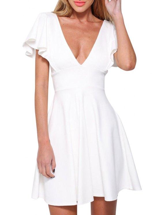 sale Plunging Neck Solid Color A Line Dress - WHITE M