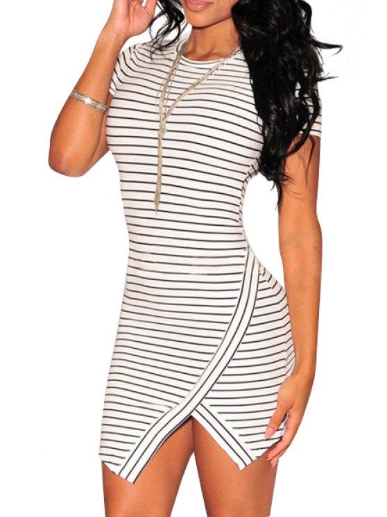 online Stripes Short Sleeve Bodycon Dress - STRIPE ONE SIZE(FIT SIZE XS TO M)