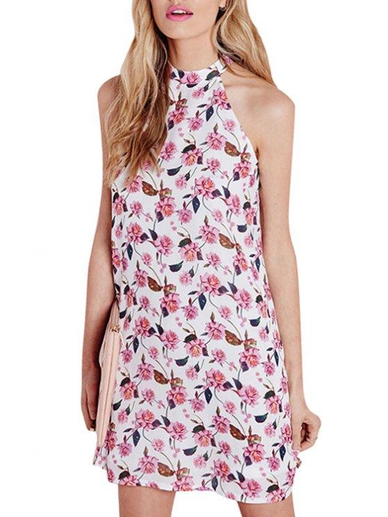 fashion Round Neck Floral Print Dress - WHITE S
