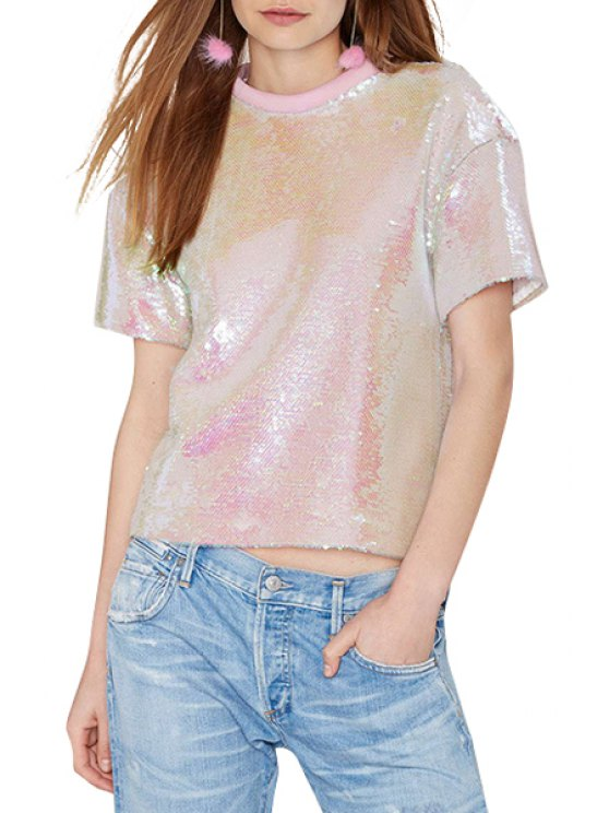 fashion Pink Sequins Short Sleeve T-Shirt - PINK S