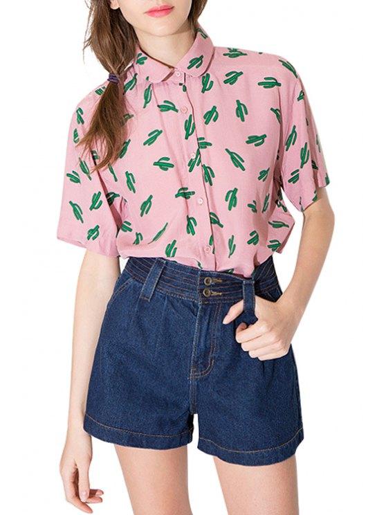 women Turn-Down Collar Green Cactus Print Shirt - PINK S