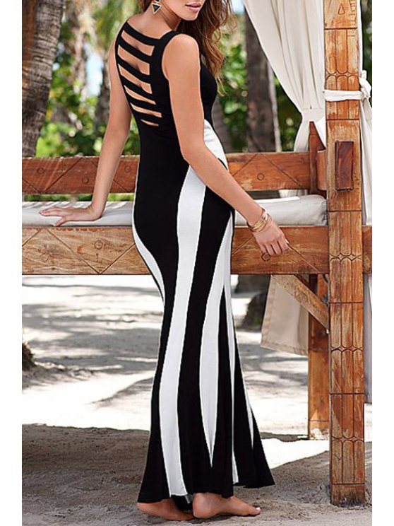 women's Color Block Sleeveless Hollow Maxi Dress - WHITE AND BLACK ONE SIZE(FIT SIZE XS TO M)