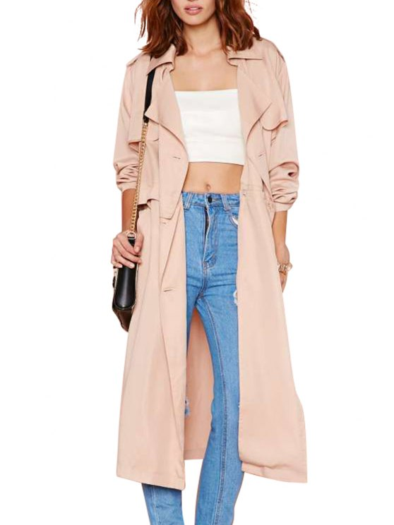 latest Turn-Down Collar Solid Color Splicing Trench Coat - BEIGE S