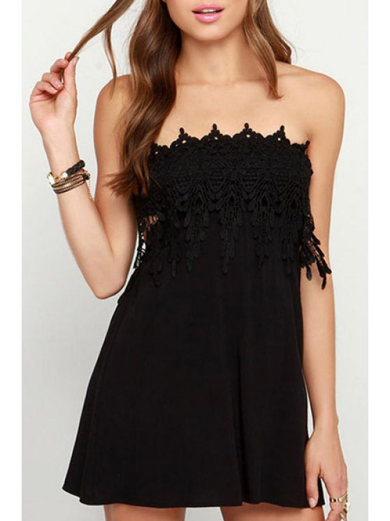 online Solid Color Strapless Backless Dress - BLACK ONE SIZE(FIT SIZE XS TO M)