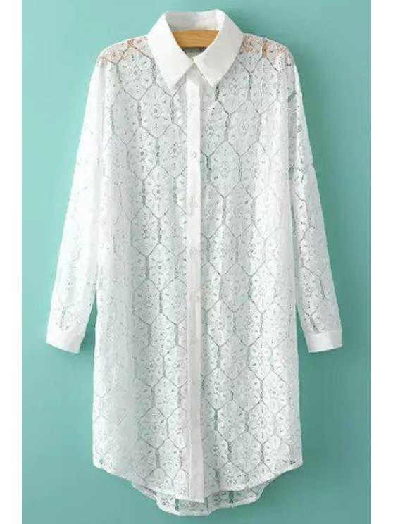 hot Turn-Down Collar Floral Pattern Lace Shirt - WHITE ONE SIZE(FIT SIZE XS TO M)