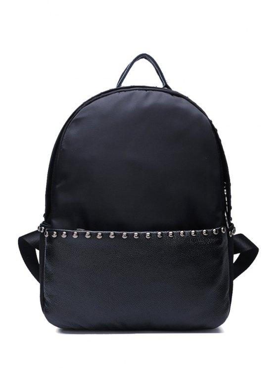fashion Black Studs PU Leather Satchel - BLACK