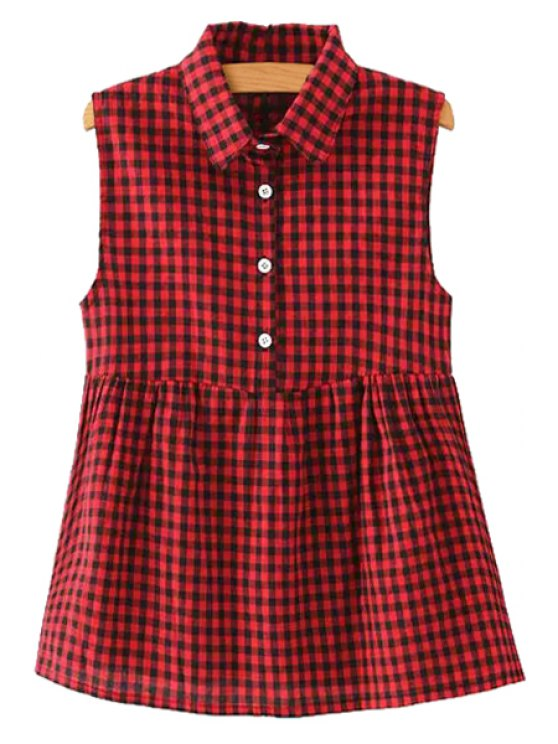 shops Polo Collar Plaid Ruffle Sleeveless Shirt - RED S