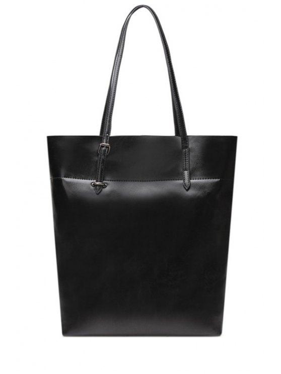 fancy PU Leather Buckle Solid Color Shoulder Bag - BLACK