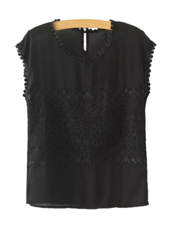 chic Jewel Neck Lace Splicing Solid Color Tank Top - BLACK S