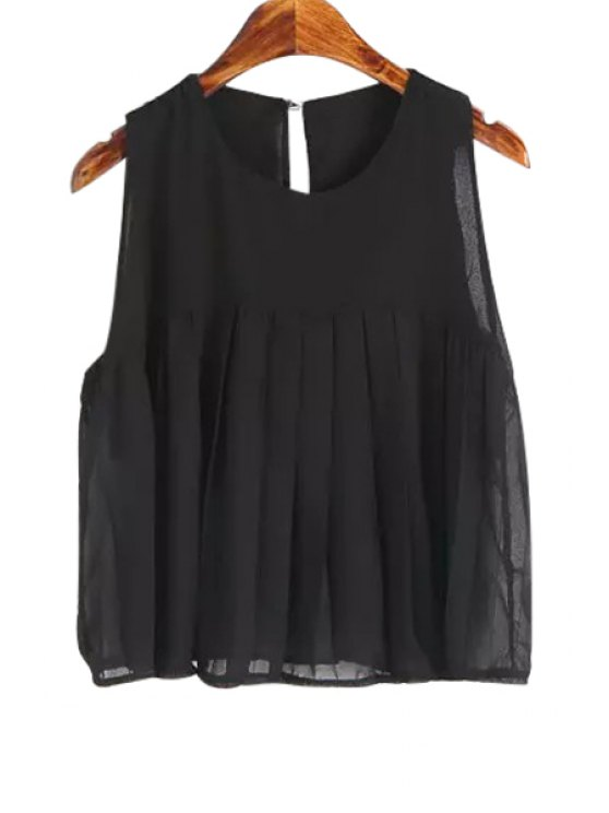 best Jewel Neck Solid Color Ruffle Tank Top - BLACK ONE SIZE(FIT SIZE XS TO M)