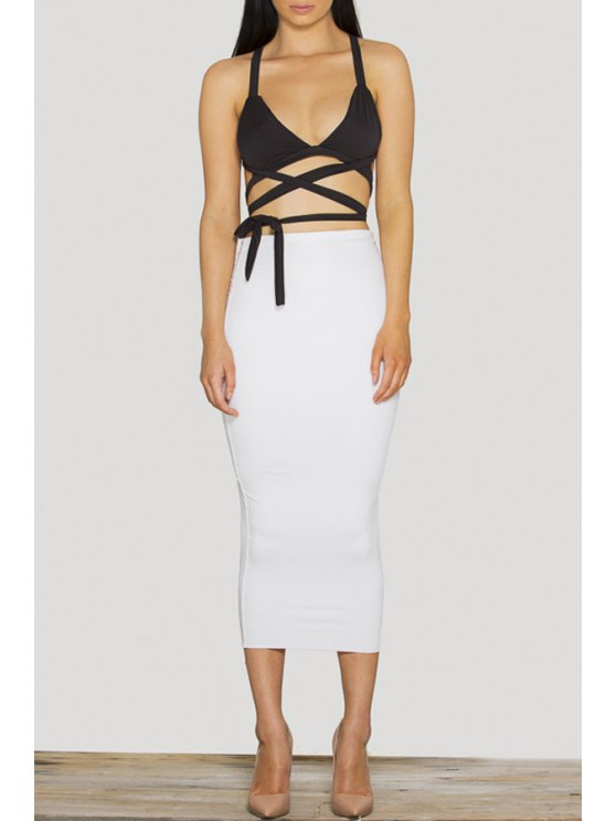 shop Spaghtti Strap Crop Top + High-Waisted Ruffled Skirt Twinset - WHITE S