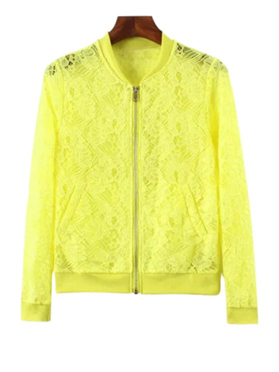 ladies Stand-Up Collar Solid Color Lace Coat - YELLOW S