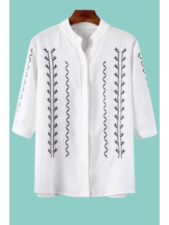 buy Black Embroidery 3/4 Sleeve Shirt - WHITE S