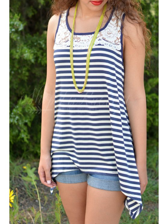 lady Striped Irregular Hem Lace Spliced Tank Top - BLUE AND WHITE S