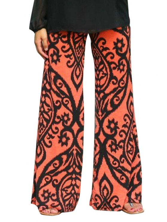 new Wide Leg Floral Print Pants - ORANGE RED S
