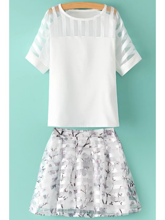 outfits See-Through Solid Color T-Shirt + Floral Print Skirt - WHITE M
