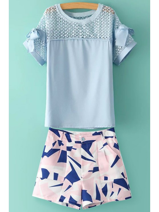 women Solid Color Bowknot T-Shirt + Geometric Print Skirt - BLUE AND PINK S