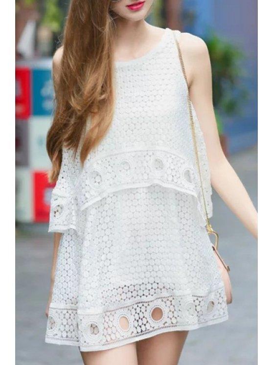 ladies Polka Dot Openwork Sleeveless Dress - WHITE S