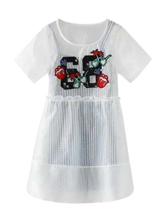 outfit Voile Applique Short Sleeve Dress + Stripe Sleeveless Dress - WHITE S