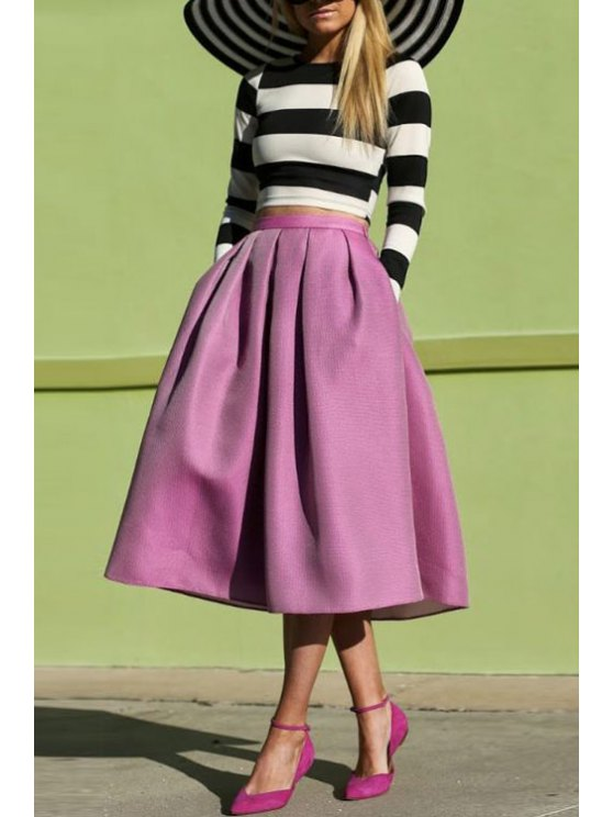 best Stripe Long Sleeve T-Shirt + Solid Color Skirt - BLACK AND WHITE AND PURPLE S
