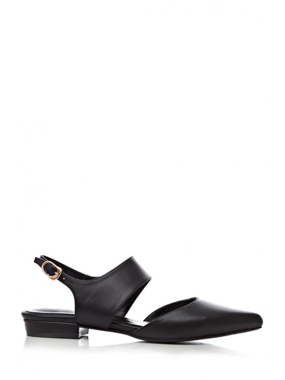 online Pointed Toe Solid Color Buckle Sandals - BLACK 34