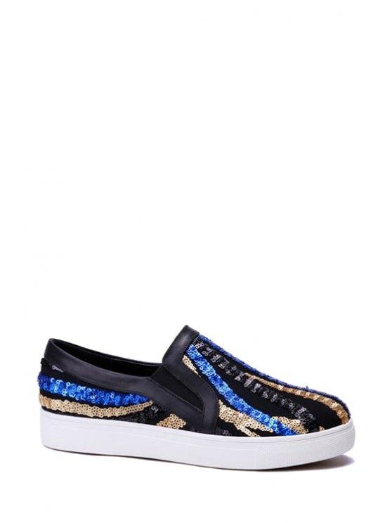 new Sequined Color Block Elastic Flat Shoes - BLUE 34
