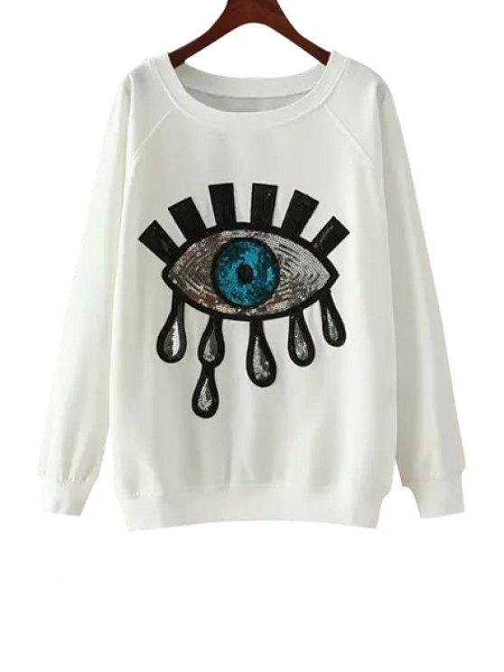 ladies Eye Pattern Sequins Long Sleeve Sweatshirt - WHITE L