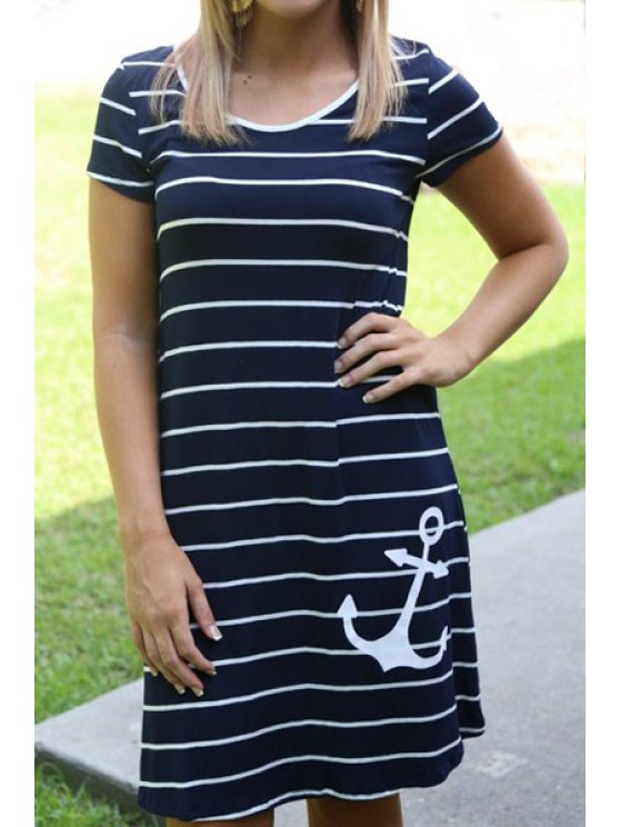new Anchor Print Short Sleeve Dress - STRIPE S