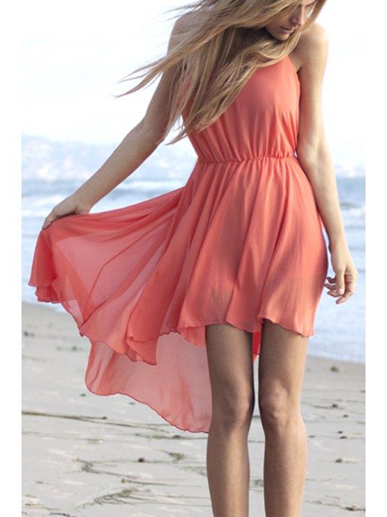 unique Solid Color Irregular Hem Chiffon Dress - RED S