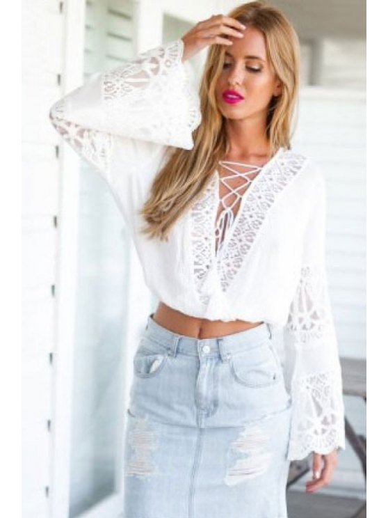 fancy Deep V Neck Lace Spliced Lace-Up Crop Top - WHITE S