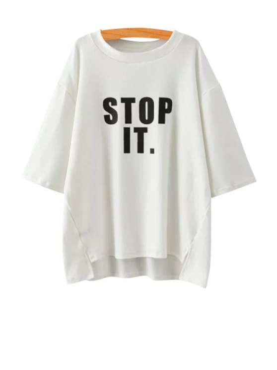 latest Black Letter Print 3/4 Sleeve T-Shirt - WHITE ONE SIZE(FIT SIZE XS TO M)