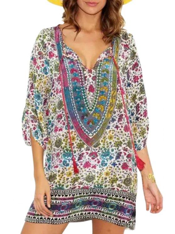 hot Tribal Print V Neck 3/4 Sleeve Dress - COLORMIX S
