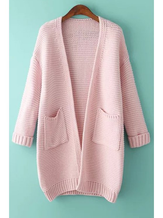 best Solid Color Pocket Long Sleeve Cardigan - PINK ONE SIZE(FIT SIZE XS TO M)