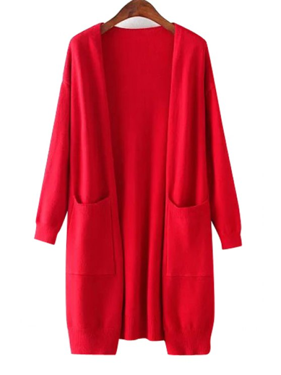 shops Solid Color Two Pocket Collarless Cardigan - RED ONE SIZE(FIT SIZE XS TO M)