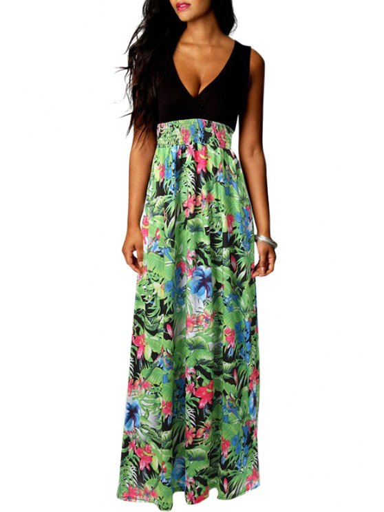 best Green Floral Print Spliced Sleeveless Maxi Dress - BLACK AND GREEN S
