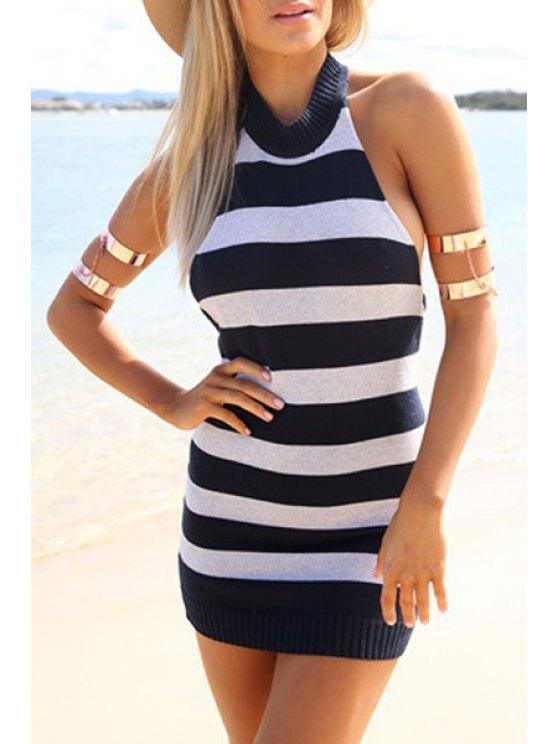 trendy Halter Neck Backless Striped Dress - BLUE AND WHITE S