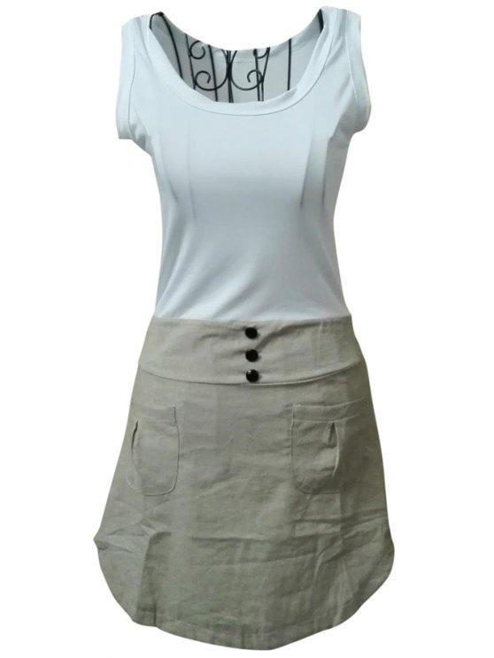 shop Color Block Scoop Collar Sundress - GRAY S