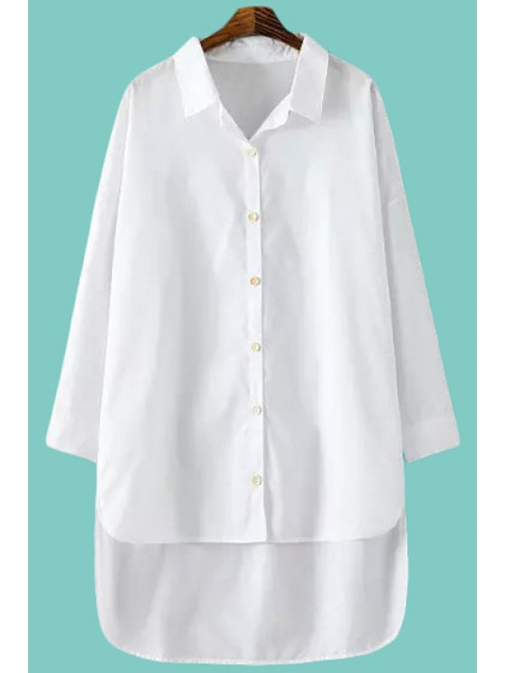 ladies White Shirt Neck Long Sleeves Shirt - WHITE ONE SIZE(FIT SIZE XS TO M)