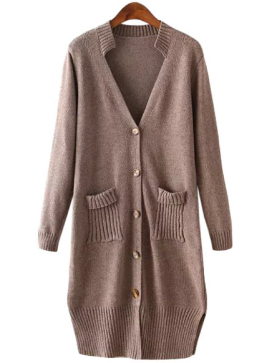 outfit Plunging Collar Solid Color Cardigan - COFFEE ONE SIZE(FIT SIZE XS TO M)