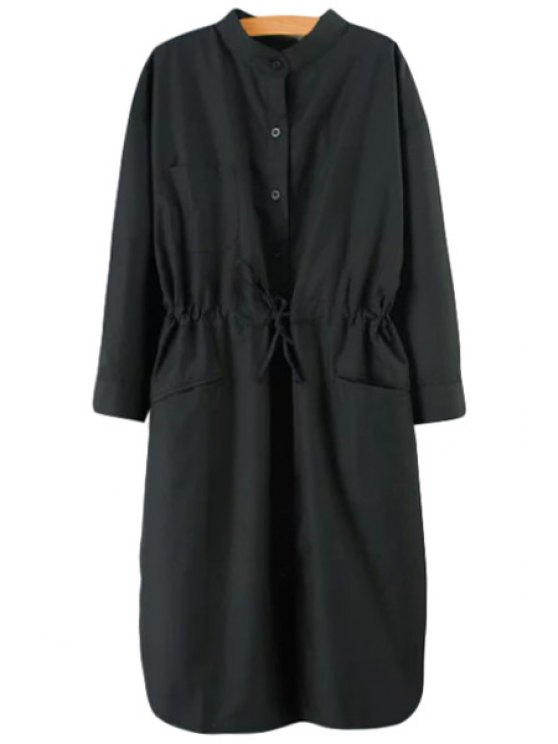 fashion Solid Color Stand Neck Long Sleeve Trench - BLACK L