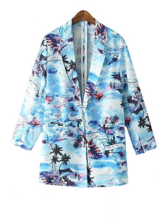 shops Beach Print Lapel Long Sleeve Blazer - BLUE S