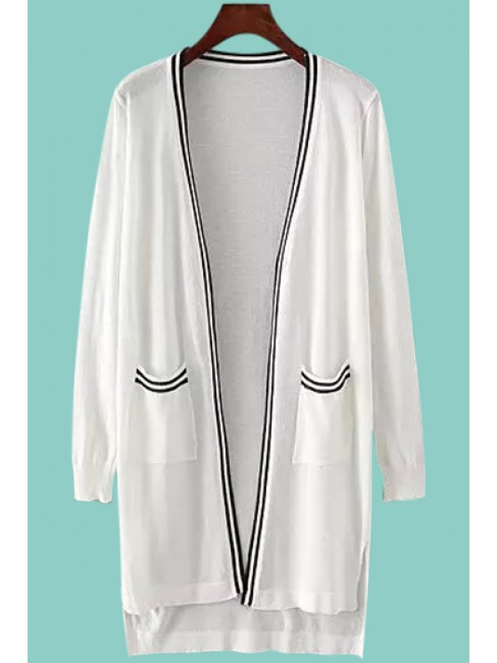latest Stripe Pocket High Low Long Sleeve Cardigan - WHITE ONE SIZE(FIT SIZE XS TO M)