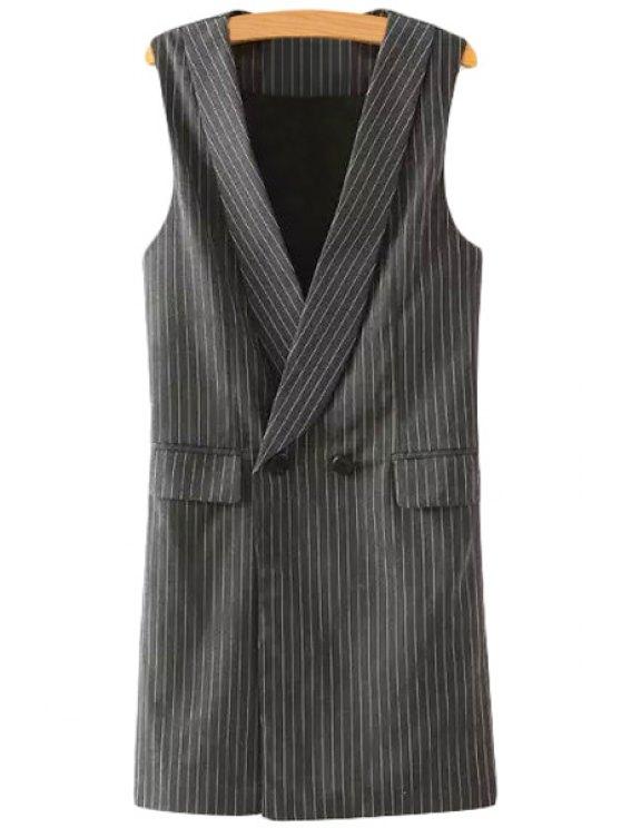 affordable Striped Shawl Collar Waistcoat - GRAY L