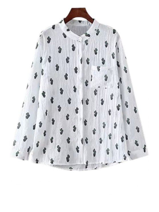 latest Cactus Pattern Long Sleeve Shirt - WHITE ONE SIZE(FIT SIZE XS TO M)
