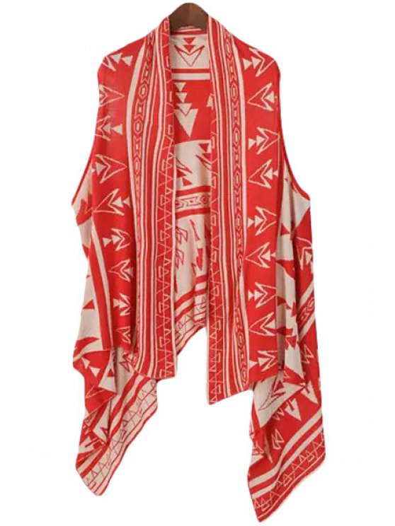 trendy Geometric Pattern Sleeveless Cardigan - RED ONE SIZE(FIT SIZE XS TO M)